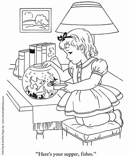 Coloring Pages Fish Winter Feeding Sheets Activities