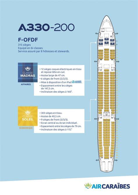 reservation siege vol air caraibes plan cabine de notre airbus a330 200 air caraïbes