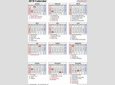 2019 Calendar Download 17 free printable Excel templates