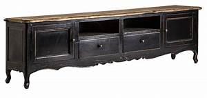 Meuble Bois Et Noir : meuble tv proven al bois d 39 orme noir et naturel us brodie ~ Melissatoandfro.com Idées de Décoration
