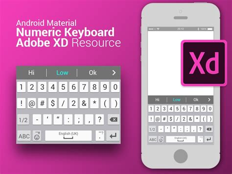 android material numeric keyboard resource  adobe xd