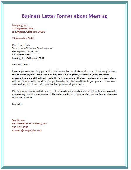 sample business letter format ideas