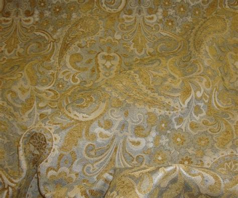 Drapery Fabric By The Yard by Gold Paisley With Floral Chenille Upholstery Drapery
