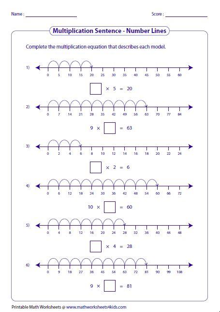 completing multiplication sentences number lines matek
