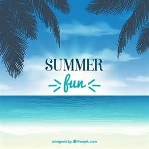 Summer background with palm trees and sea Vector | Free ...