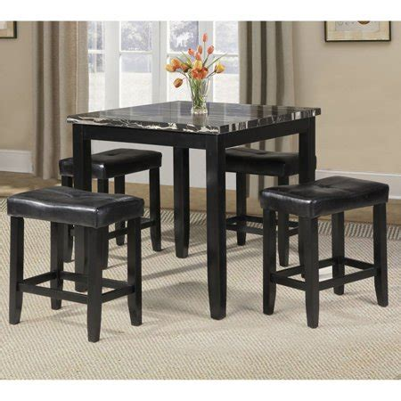 Acme Blythe 5 Piece Counter Height Dining Set, Faux Marble