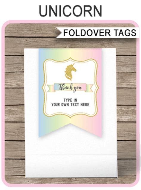 unicorn favor tag toppers unicorn theme   tags