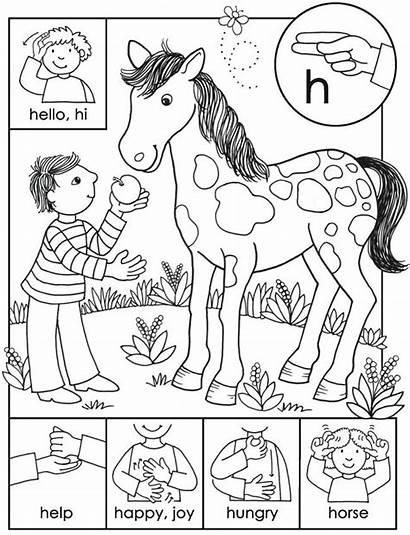 Language Sign Asl Coloring American Abc Beginner