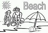 Coloring Mom Sand Playing Vacation sketch template