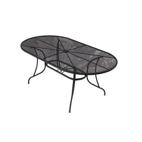 oval patio dining table null 72 in wrought iron black oval patio dining table