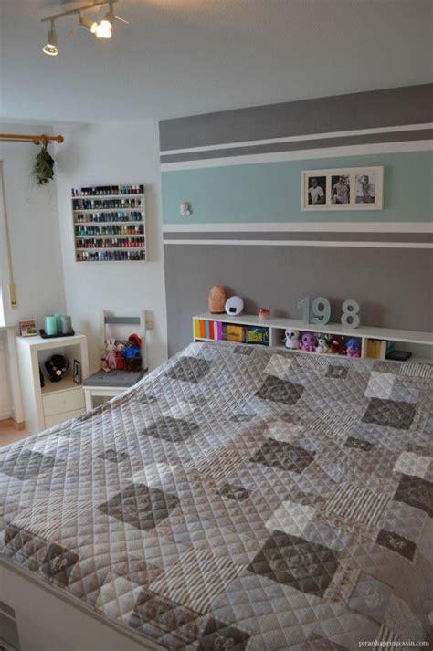 wandgestaltung streifen ideen bilder einrichtung schlafzimmer interior design bedroom t 252 rkis grau streifen stripes grey turquoise