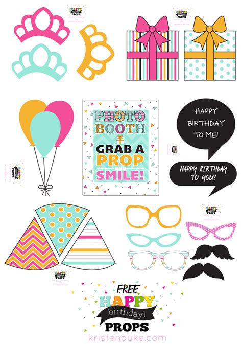 birthday photo booth props   printables