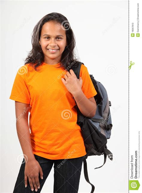 young happy primary school girl   pack stock