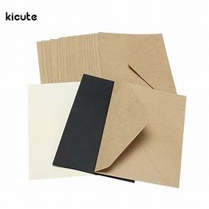 20pcs set classical brown white black kraft blank mini With blank wedding invitation paper and envelopes