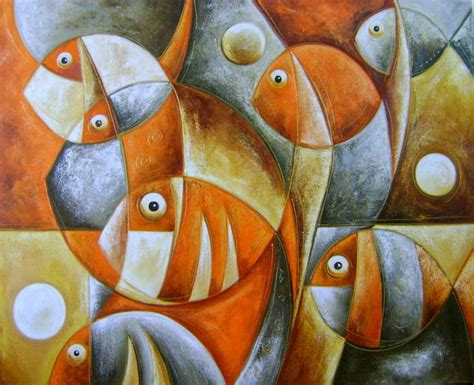 painel pintura peixes    quadros