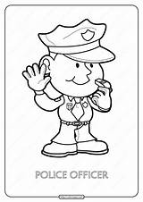 Police Coloring Officer Printable Pdf sketch template