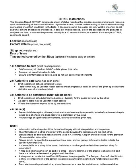 Situation Report (sitrep) Template  The Persimmon Group