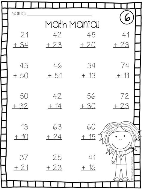 addition without regrouping worksheet for grade 1 addition and subtraction digit math facts without