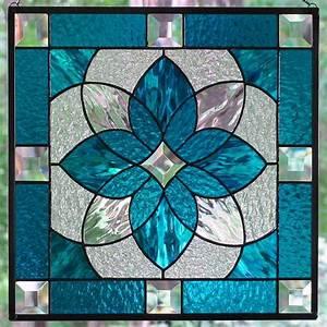 Aqua Blue Stained Glass Starburst Design Beveled Panel ...