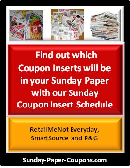 19933 Redplum Coupons Sunday Paper by 2016 Coupon Insert Schedule Preview Sunday Paper