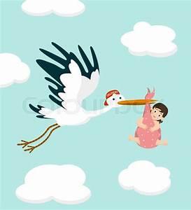 Congratulation New Baby Girl Stork Carrying A Cute Baby Girl Newborn Baby Vector