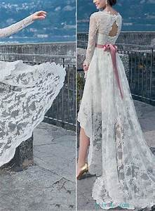h1649 romantic beach lace high low wedding dresses with With high low wedding dress with sleeves