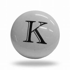 Ceramic letter k cupboard cabinet alphabet door knob for Letter door knobs