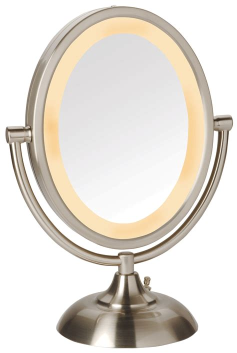 makeup light mirror jerdon 5x 1x magnification oval halo lighted vanity makeup