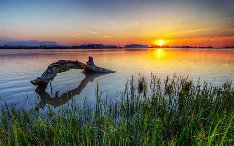 lake sunset scenery wallpaper