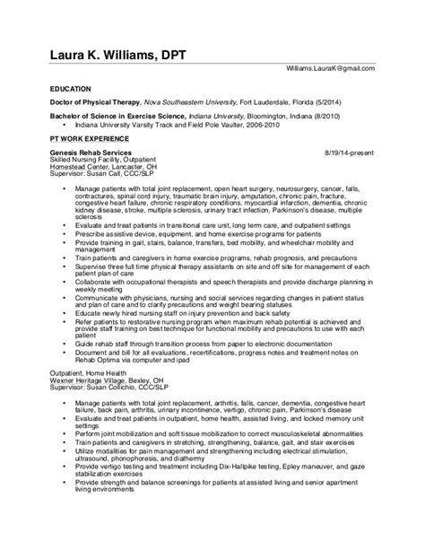 Pt School Resume by Resume K Williams Dpt 2016