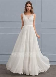 a line princess scoop neck floor length chiffon wedding With a line princess wedding dress