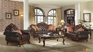 Traditional Dark Brown Button Tufted Leather Living Room ...