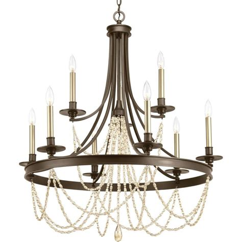 9 light chandelier progress lighting allaire 9 light antique bronze