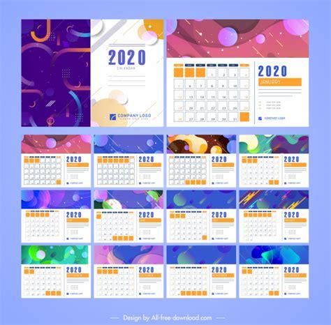 calendar templates colorful abstract modern decor