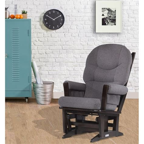 Metropolitan Glider And Ottoman by Dutailier Modern Glider In Espresso And Gray Fabric
