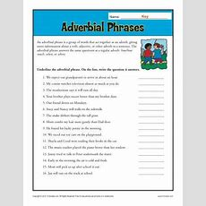 Adverbial Phrases  Worksheets, Activities And Adverbs