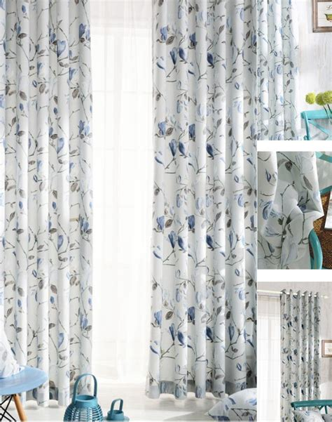 Elegant Blue Floral Patterned Curtain Country Style. Smith And Noble Reviews. Mirrored Credenza. Firewood Rack. European Shower. Frosted Glass Interior Doors. Whites Plumbing. Best Couches. Home Recording Studio Design