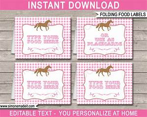 Horse party food labels place cards horse theme for Food label template for party