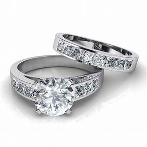 Channel set diamond engagement ring matching wedding for Wedding bands and engagement ring sets