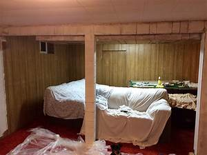 Before, Photo, Of, Our, 70, U0026, 39, S, Basement, I, Started, To, Use, Primer, On, The, Wood, Paneling, I, Cleaned, The, P