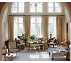 high ceiling window treatment on high ceilings