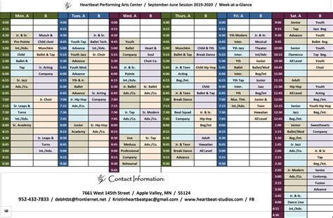 class schedule heartbeat performing arts center