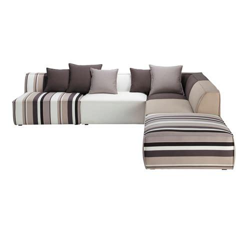 canapé manhattan canapé d 39 angle modulable à rayures 5 places en coton