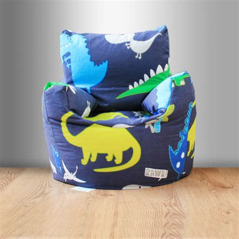 childrens beanbag chair dinosaurs blue boys bedroom
