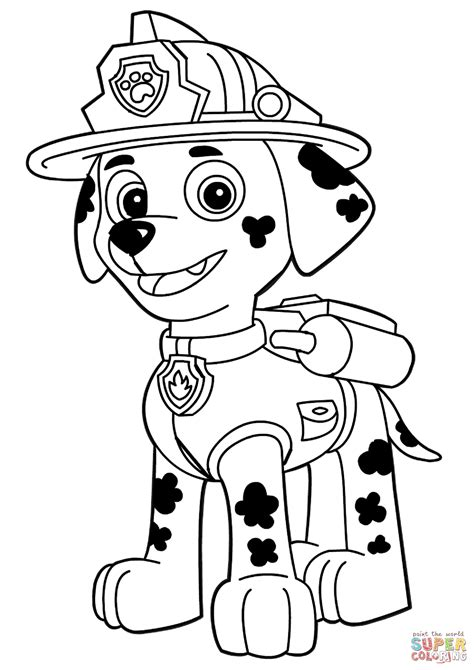 paw patrol marshall coloring page  printable coloring pages