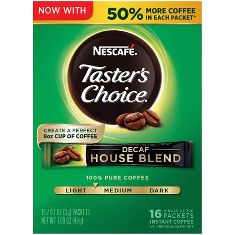 Depending on the size of your mug, the amount of milk you wish to add, and your own personal tastes, reduce the amount of coffee and/or water as needed. (8 Pack) NESCAFE TASTERS CHOICE Decaf House Blend Medium ...