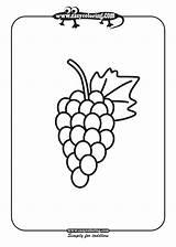 Coloring Grapes Printable Grape Grapefruit Template Fruits Vine Apple Popular sketch template