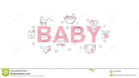 All contents are released under creative commons cc0. Baby Vector Banner. Word With Line Icon. Stock Vector ...