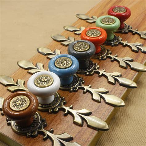 cabinet knobs drawer handles ceramic door dresser pull cupboard quality pumpkin wardrobe screw hardware amazon multicolor 7pcs
