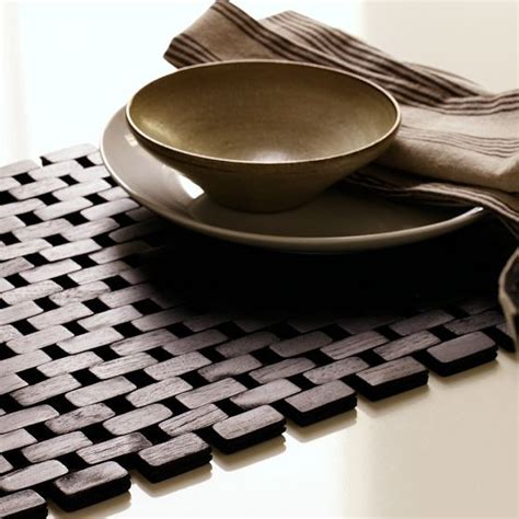 West Elm Cabinet by Black Wood Tile Placemat Modern Placemats By West Elm